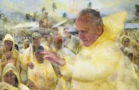 Pope Francis in the rain